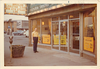 Nick in front of Nick & Sons Snack Shop in Berwyn, IL., in the late 1960's