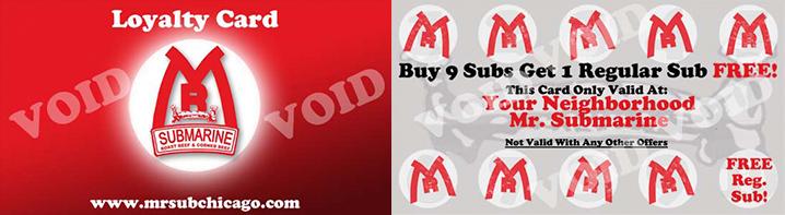 Mr. Submarine Loyalty Card